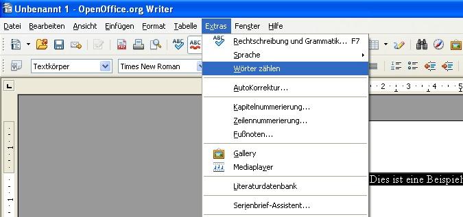 Zeichen und Wörter mittels Open Office zählen